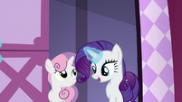 Rarity and Sweetie Belle enter Rarity's workshop S6E15