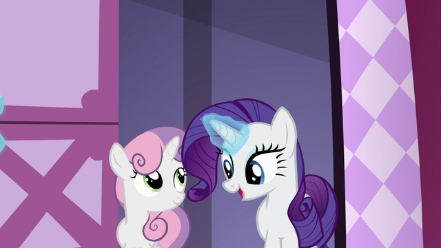 File:Rarity and Sweetie Belle enter Rarity's workshop S6E15.png