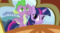 Spike on Twilight's back S3E2