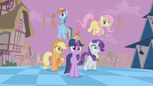 File:Main ponies Sans Pinkie Pie Shock S2E2.png