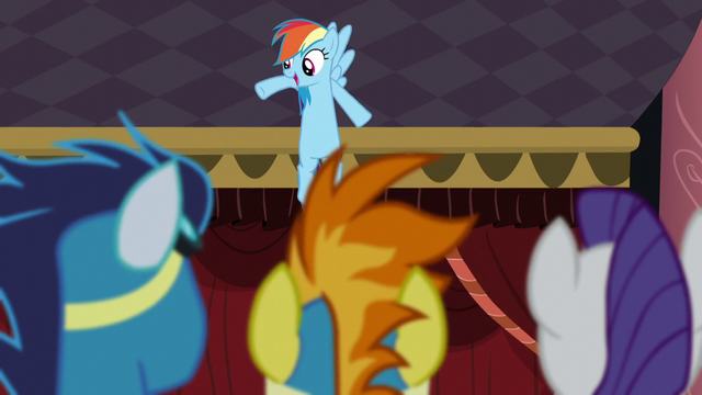 File:Soarin, Spitfire, and Rarity watches Rainbow dancing S5E15.png