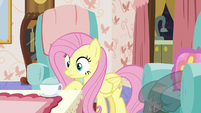 Fluttershy looking at her teacup S7E12