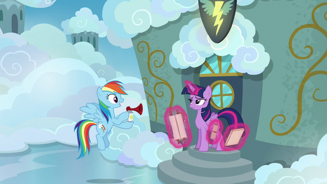 File:Rainbow Dash holding an airhorn S6E24.png