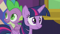Spike climbing on top of Twilight S5E20