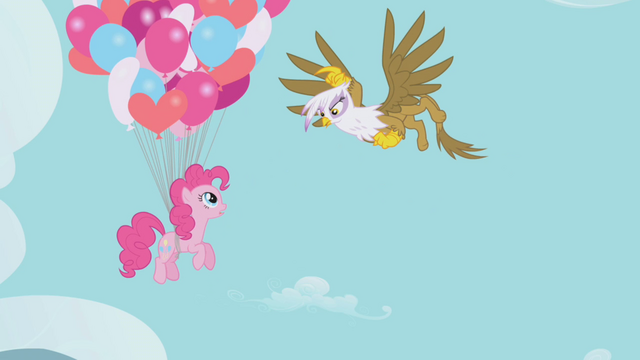 File:Gilda about to pop Pinkie Pie's balloons S1E05.png