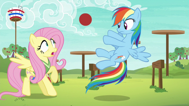File:Rainbow Dash tossing the ball to Fluttershy S6E18.png