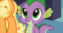 Spike is happy that Rarity's eating his pie S3E9