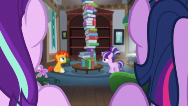 File:Starlight and Twilight looking at Sunburst and filly Starlight S5E26.png