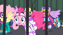 The Power Ponies hearing the Mane-iac's monologue S4E06