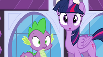 Twilight and Spike surprised S4E01