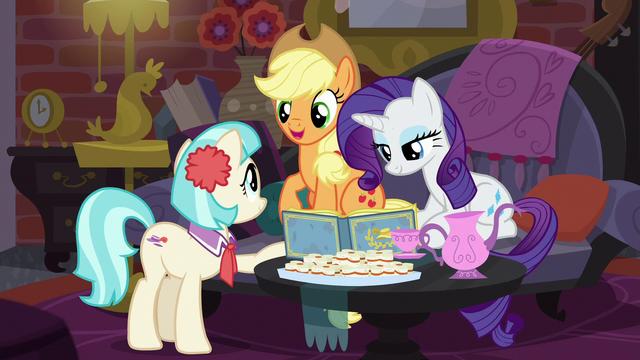 "File:Applejack ""you're enjoyin' each other's company"" S5E16.png"