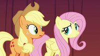 Applejack and Fluttershy looking nervous again S6E20