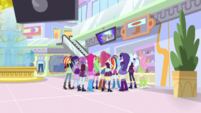 Mane Seven and Shadowbolts watch their music video EGS1