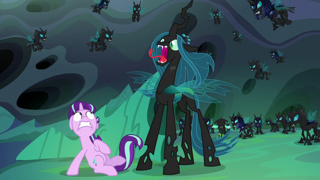 File:Queen Chrysalis suddenly appears behind Starlight S6E26.png