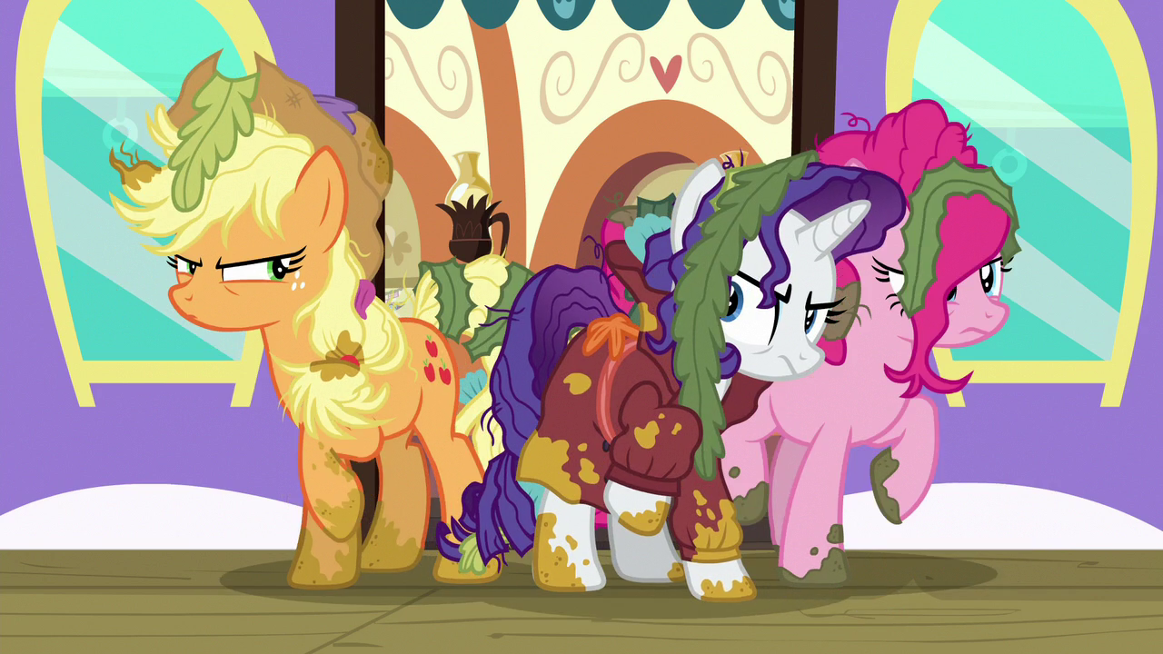 Applejack, Rarity, and Pinkie mad at each other S6E22.png