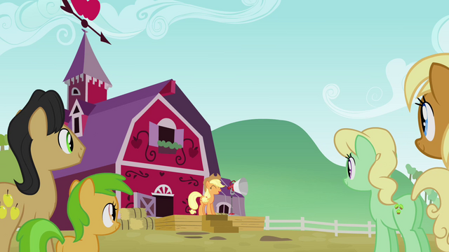 File:The Apples gathering to hear Applejack S3E08.png