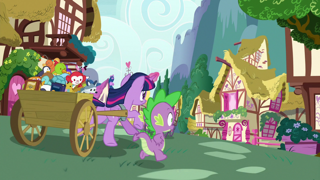 File:Twilight and Spike race through Ponyville S7E3.png