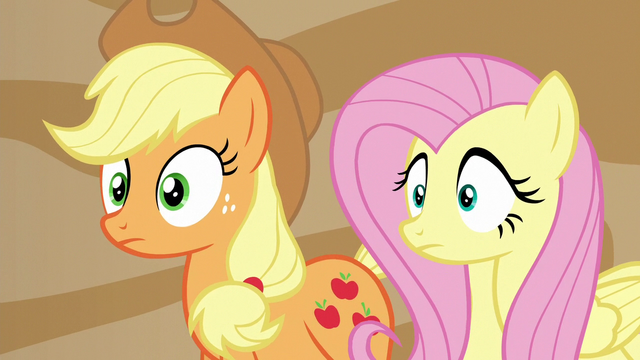 File:Applejack and Fluttershy hear a familiar voice S6E20.png