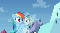 Rainbow Dash and smiling crystal filly S03E12