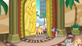 Bellhop opens the door for Applejack and Fluttershy S6E20.png