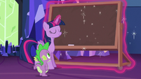 Twilight Sparkle pulls out a chalkboard S6E22