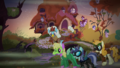 Ponies in costumes outside Fluttershy's cottage S5E21.png