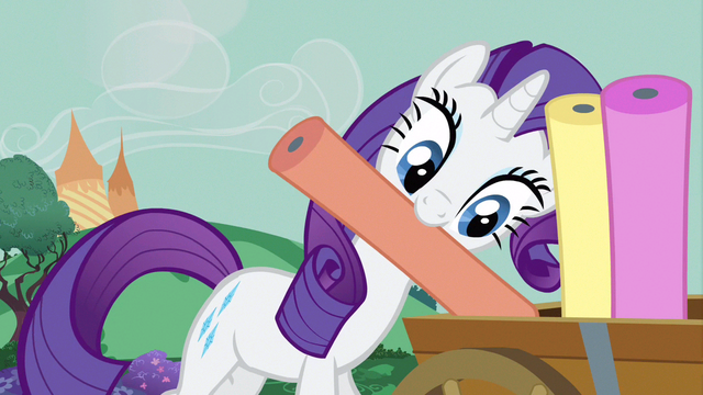 File:Rarity putting rolls of cloth S3E8.png