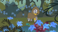 Zecora turning around to see Apple Bloom following her S1E09