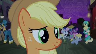 Applejack listens to Rarity S5E16