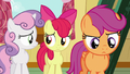 Apple Bloom and Sweetie look at each other; Scootaloo thinks S6E19.png