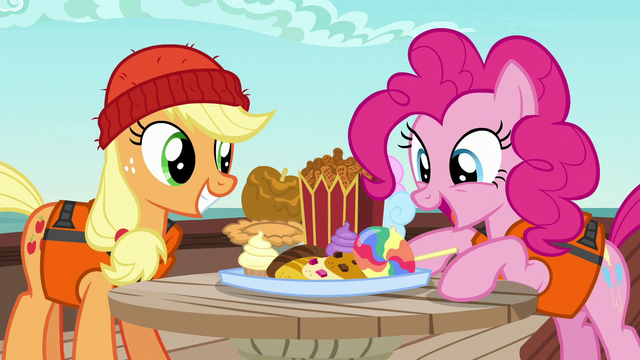 File:Applejack and Pinkie marveling at snacks S6E22.png