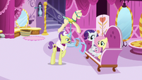 Fluttershy, Rarity, and Dandy in Carousel Boutique S7E5
