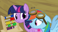 Rainbow Dash looking at abacus S2E22