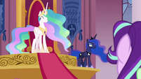 Celestia smiling innocently; Luna pouting S7E10
