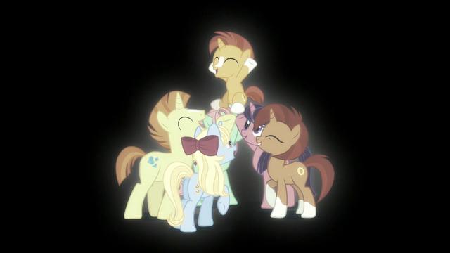 File:Ponies celebrating Sunburst S5E26.png