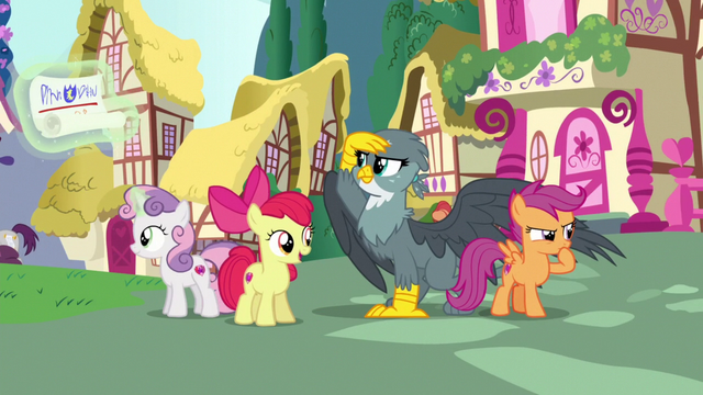 File:Crusaders and Gabby look for ponies to help S6E19.png