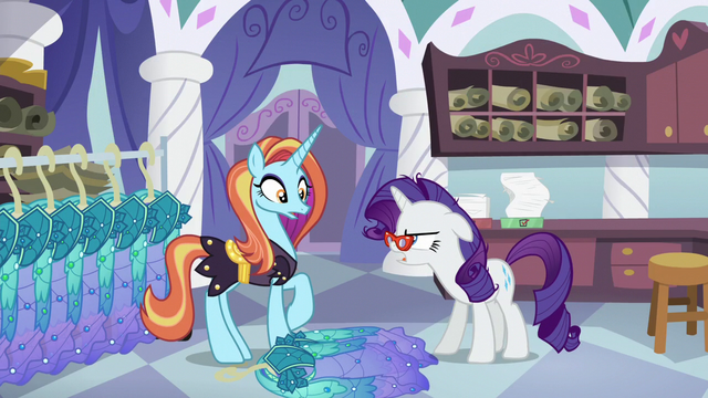 File:Rarity tosses Princess Dresses onto the floor S5E14.png