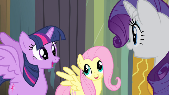 File:Twilight, Fluttershy, and Rarity excited S4E06.png