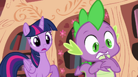 Twilight and Spike worried S4E09
