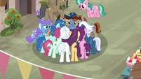 Our Town villagers crowded around Starlight Glimmer S6E25