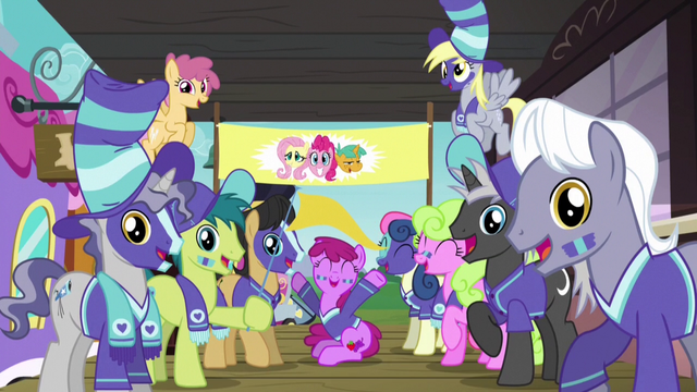 File:Ponyville ponies cheer for Fluttershy, Pinkie, and Snails S6E18.png