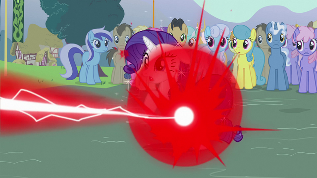 File:Rarity getting zapped by Trixie S3E05.png