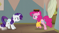 Rarity zips in front of Pinkie Pie's path S6E12