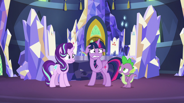 File:Twilight and Starlight nervous; Spike annoyed S7E10.png