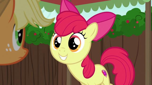 File:Apple Bloom grinning eagerly at Applejack S6E14.png
