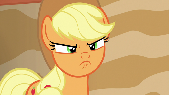 File:Applejack scowling with bitterness S6E20.png
