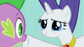 Rarity in tears silently suggests she had always known about Spikes feelings S02E10.png