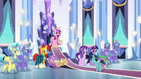 Spike and Crystal Hoof enter the throne room S6E16