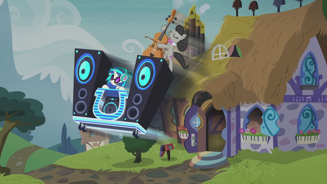 File:DJ Pon-3's mobile DJ station bursts out of the house S5E9.png