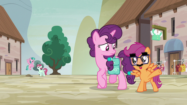 File:Disguised Scootaloo asks Sugar Belle for a village tour S7E8.png